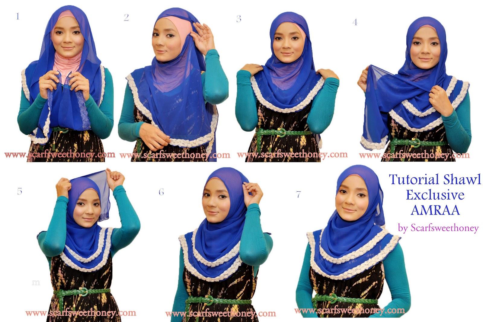 Tutorial Shawl AMRAA Style 1 Oval Shape Jilbab Hijaber