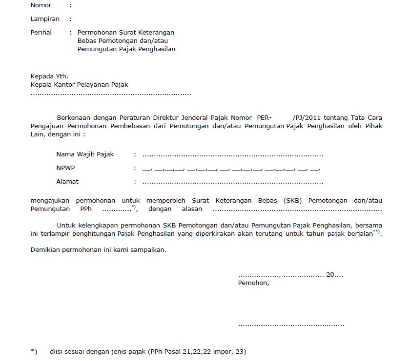 contoh surat SKB untuk wajib pajak rugi fiskal