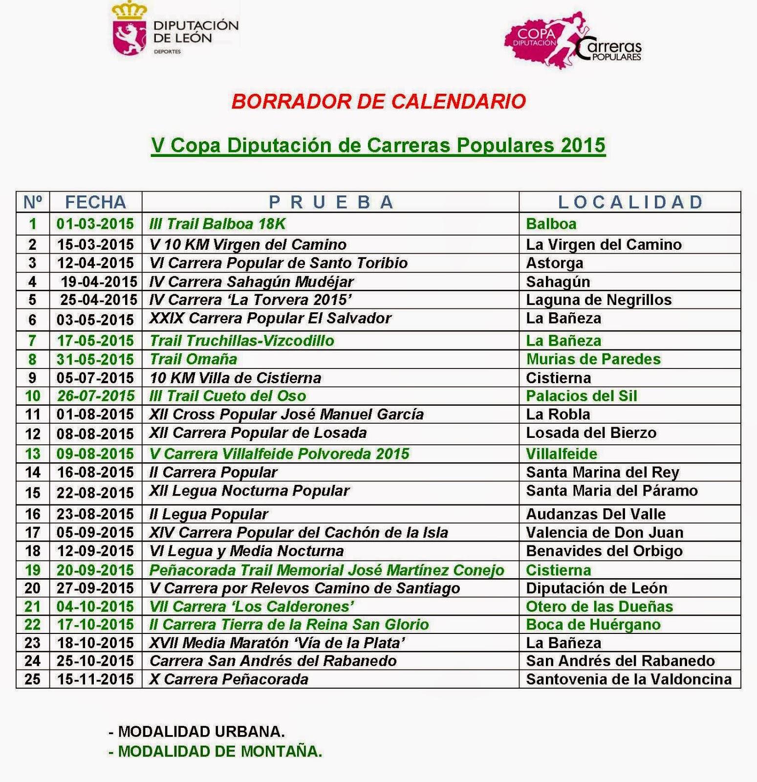 Calendario Copa diputacion