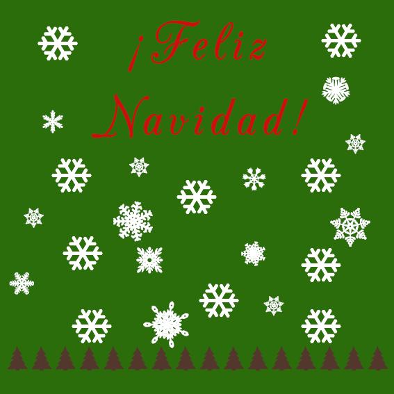 Feliz Navidad CyS Copos Nieve Árboles