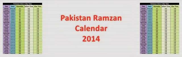 Ramzan Calendar 2014