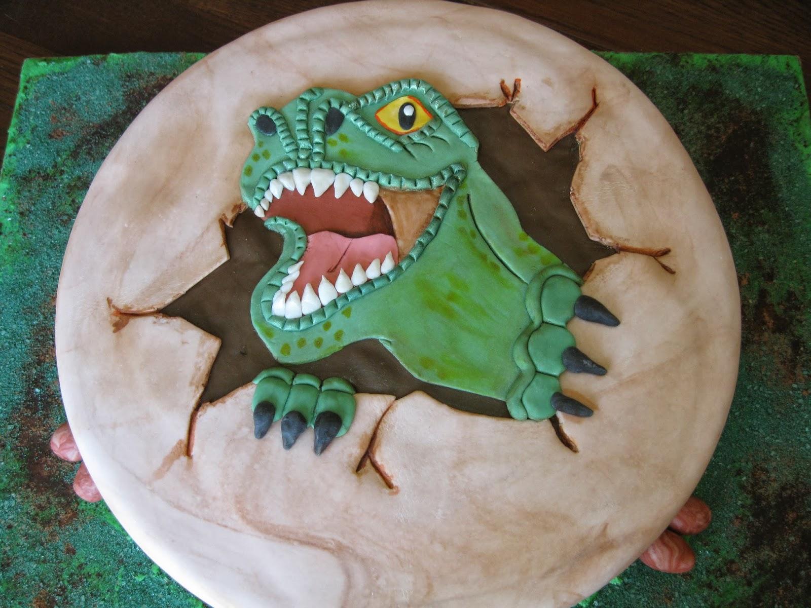 Fierce dinosaur cake for little boy s birthday