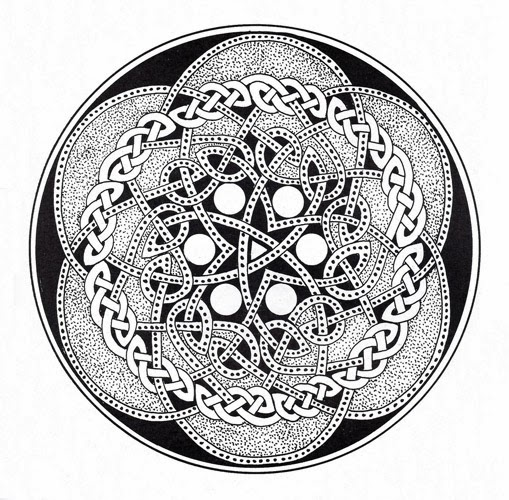 Celtic knots circle tattoo stencil