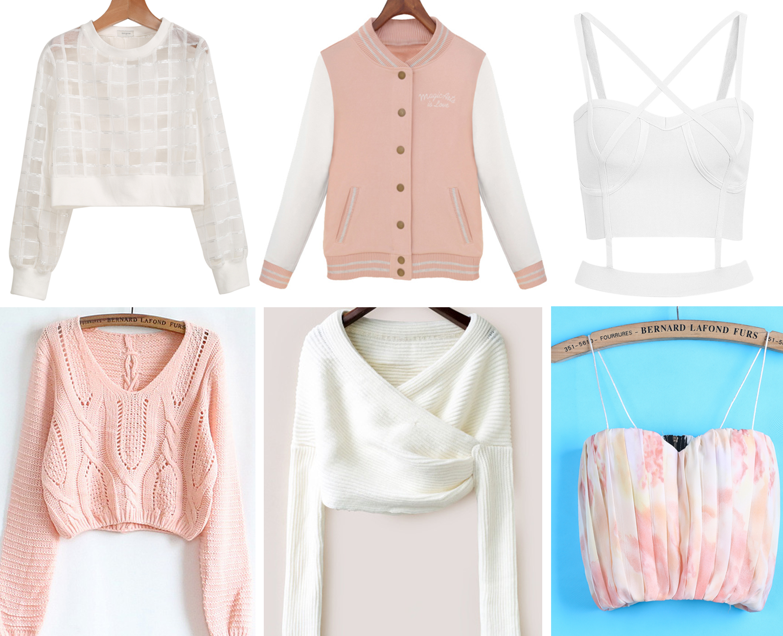 My favorite tops from SheInside, including a sheer white crop top, pink varsity jacket, strappy white tank, cropped sweaters, and pleated pastel top!