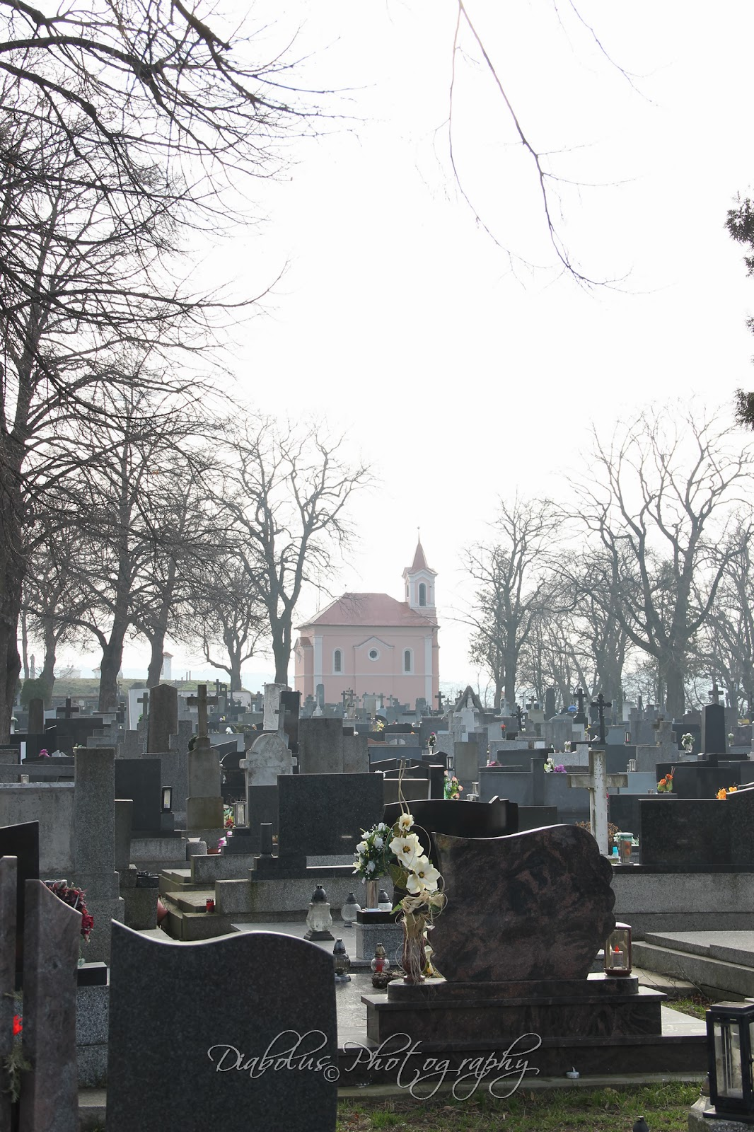 Hřbitov - pohled na kostelík
