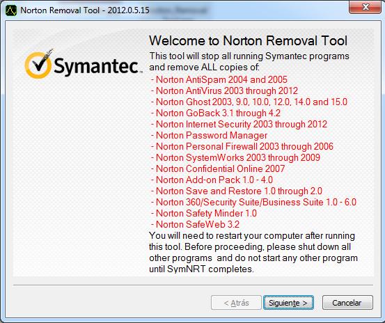Desinstalar Norton Antivirus con Norton Removal Tool