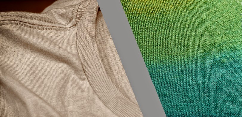 On the left, an everyday t-shirt. On the right, knitted stockinette: The same thing on a larger scale.