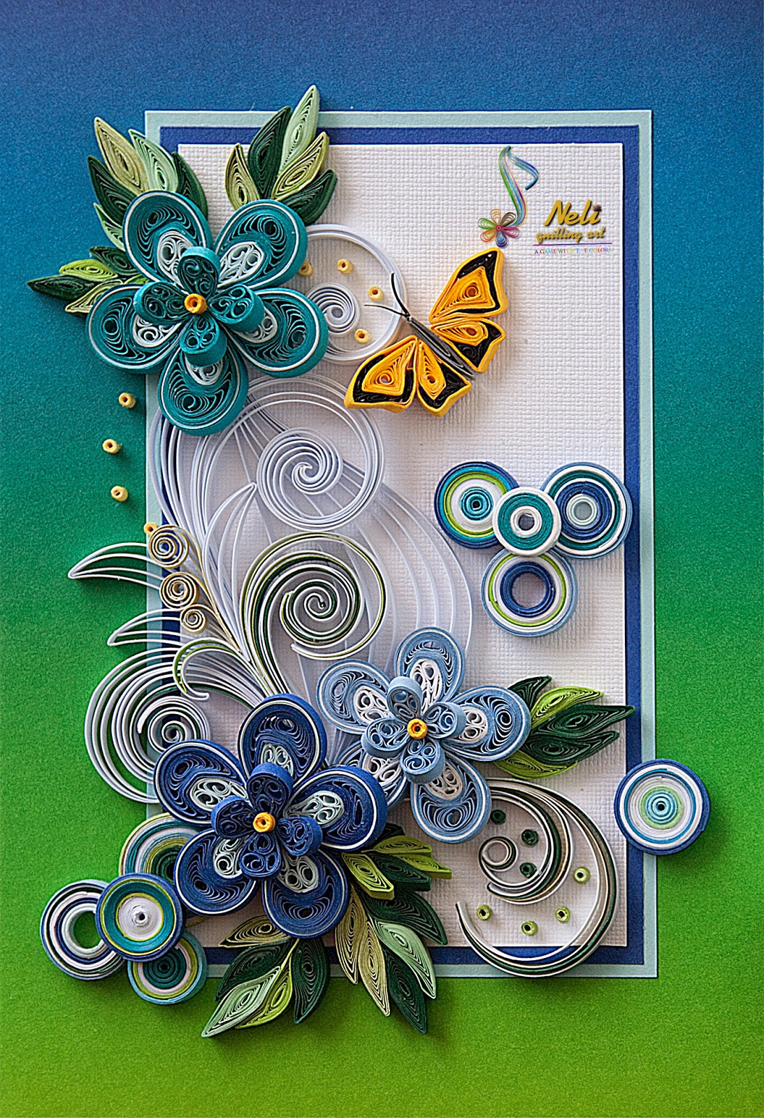 Neli quilling art quilling cards 14 8 cm 10 5 cm summer for Quilling paper art