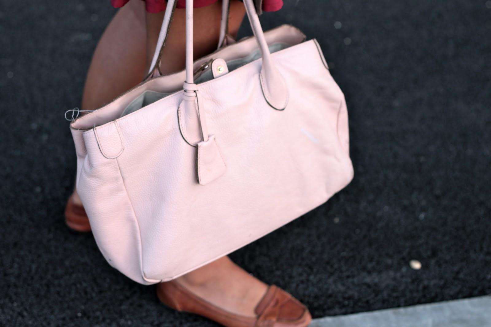 sac cuir rose