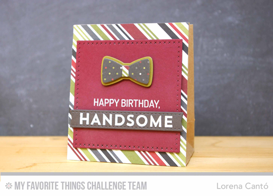 Masculine Birthday Gift Bag by Lorena Cantó featuring the Lisa Johnson Designs For the Boys stamp set and Terrific Ties Die-namics