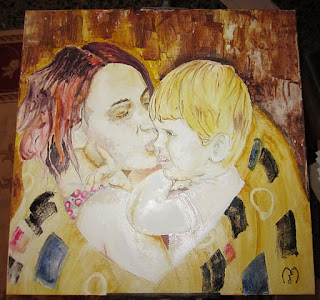 mother's love, oil painting by metris