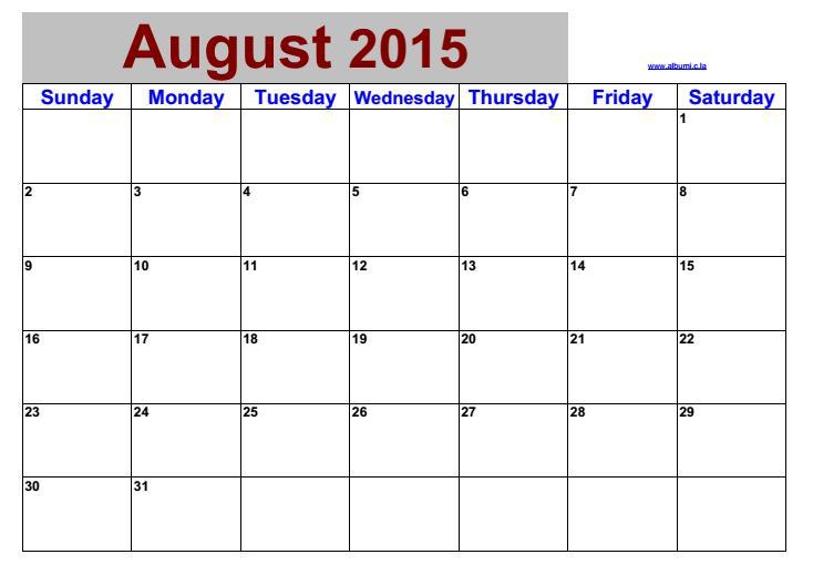 Календарь на август 2000
