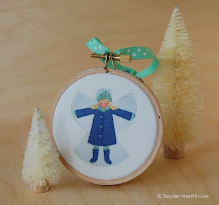 Hand Embroidery Holiday Ornaments Snow Angel Design by SeptemberHouse
