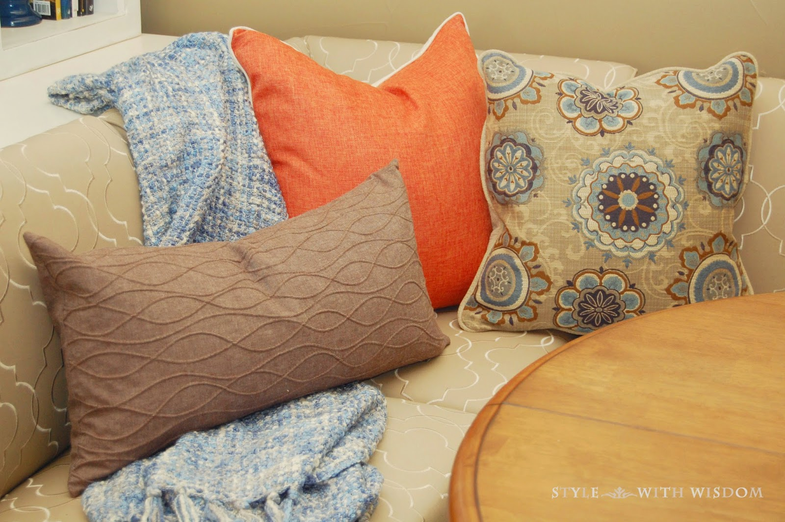 Navy and Orange pillows