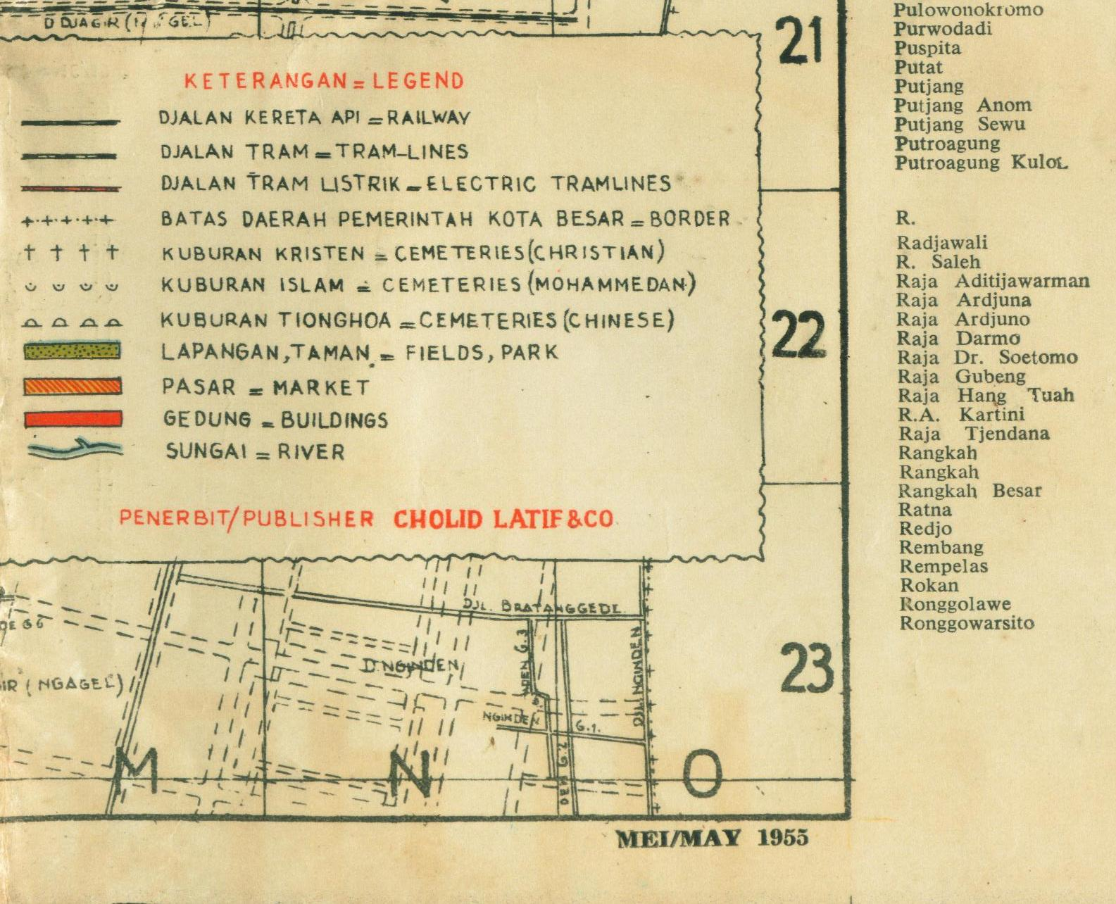 Keterangan pada Peta dan tahun pembuatan Mei 1955 pada bagian pojok ...