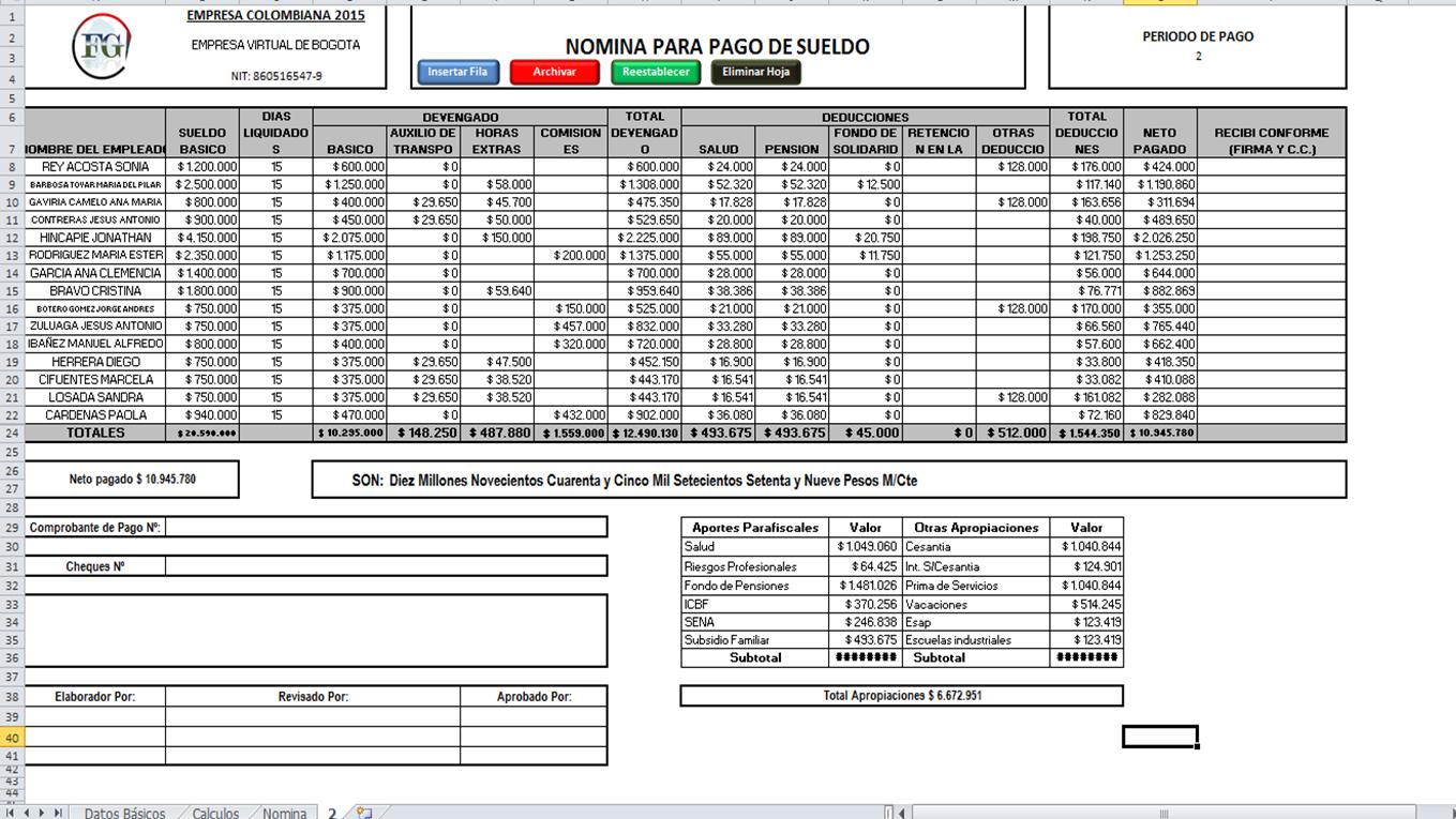 liquidacion de nomina colombia nominas liquidacion de la ForLiquidacion De Nomina Excel 2016