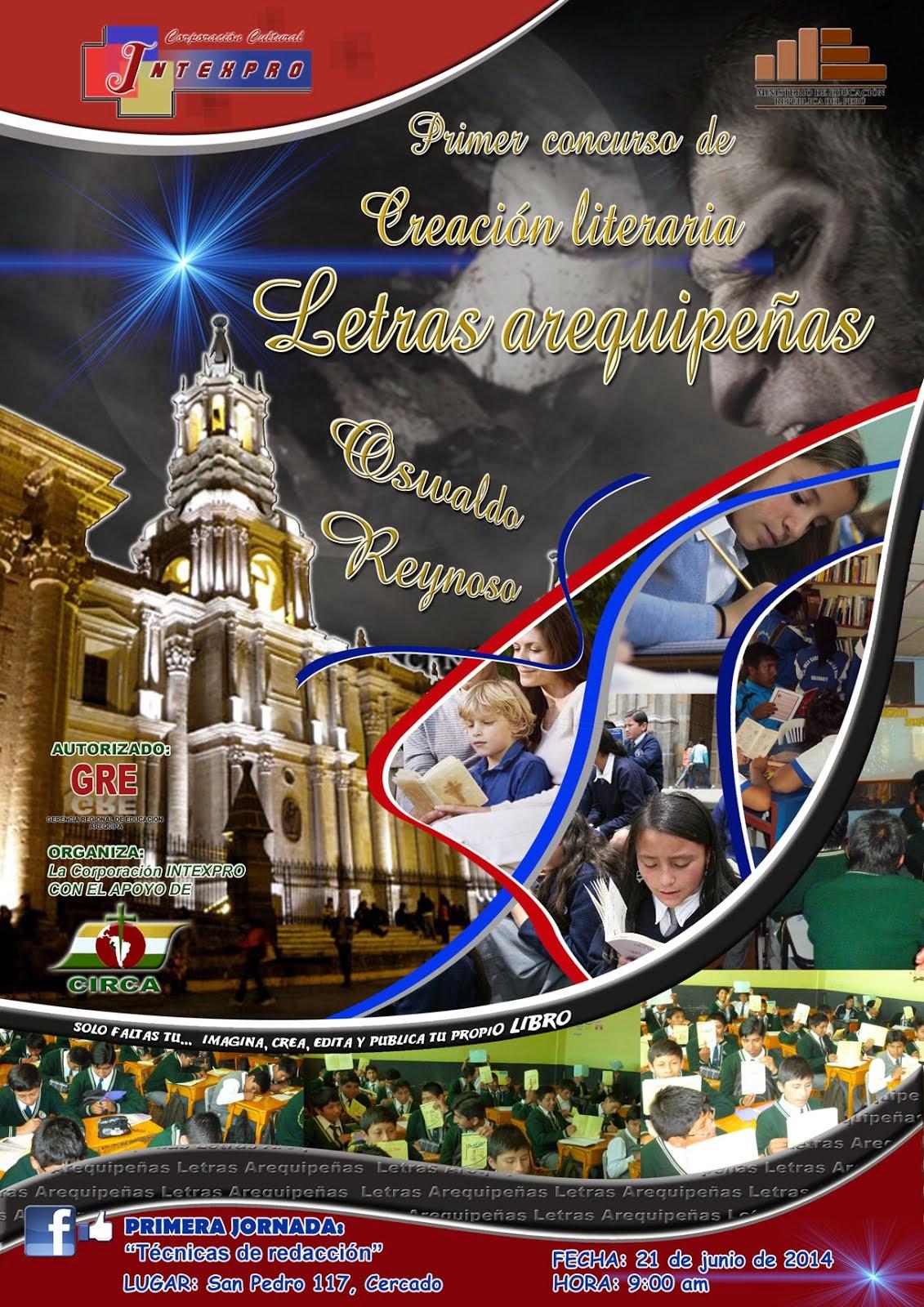 """PRIMER CONCURSO DE CREACIÓN LITERARIA INTEXPRO: LETRAS AREQUIPEÑAS, """"OSWALDO REYNOSO"""""""