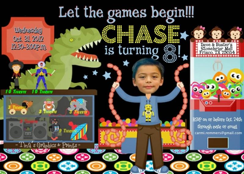 TINAS GRAPHICS PRINTS 8th Birthday Arcade Themed Party Invitation