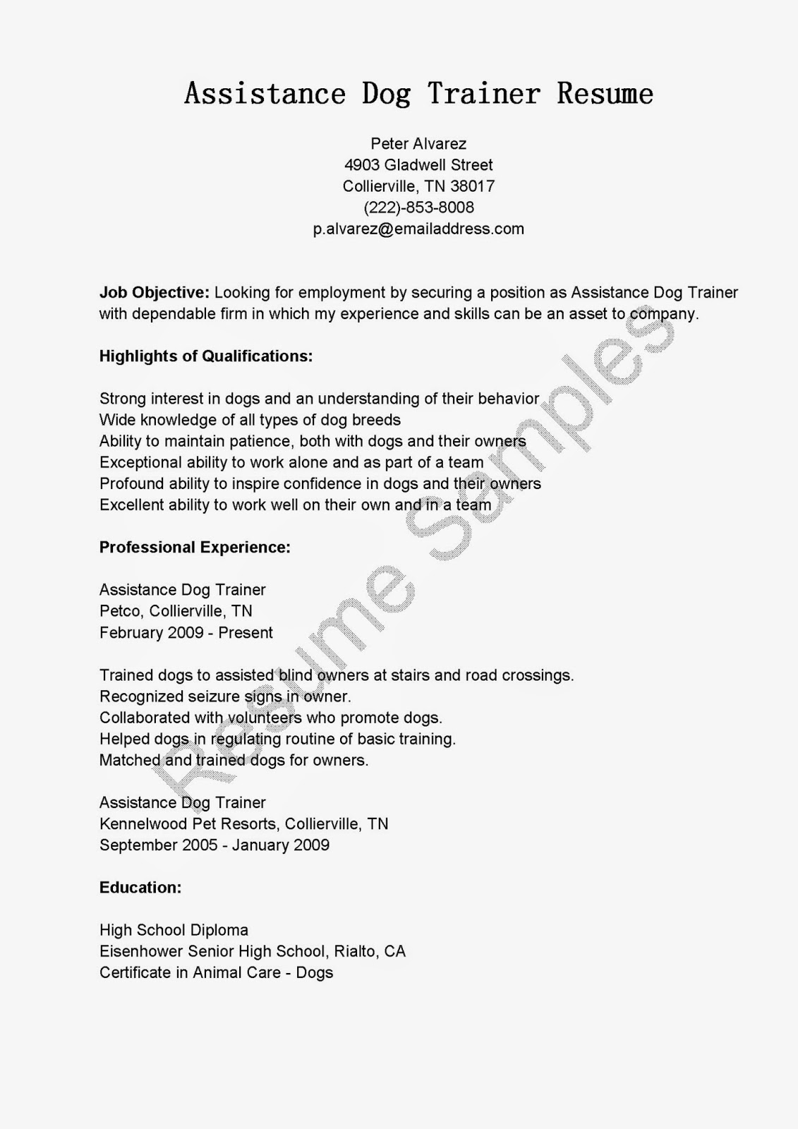 Resume Samples Assistance Dog Trainer Resume Sample