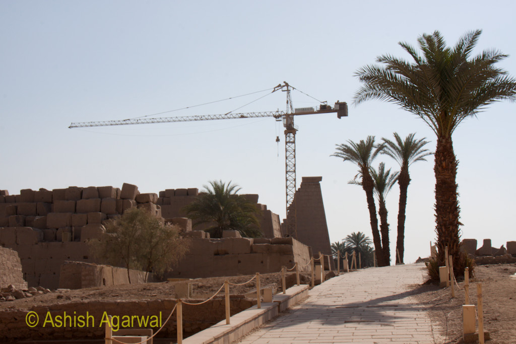 Trees and a crane at the end of a path inside the Karnak temple