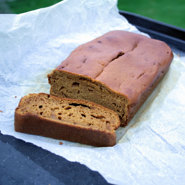 Cinnamon, ginger and nutmeg spiced pumpkin loaf - perfect for using the insides from your Halloween pumpkin carving!