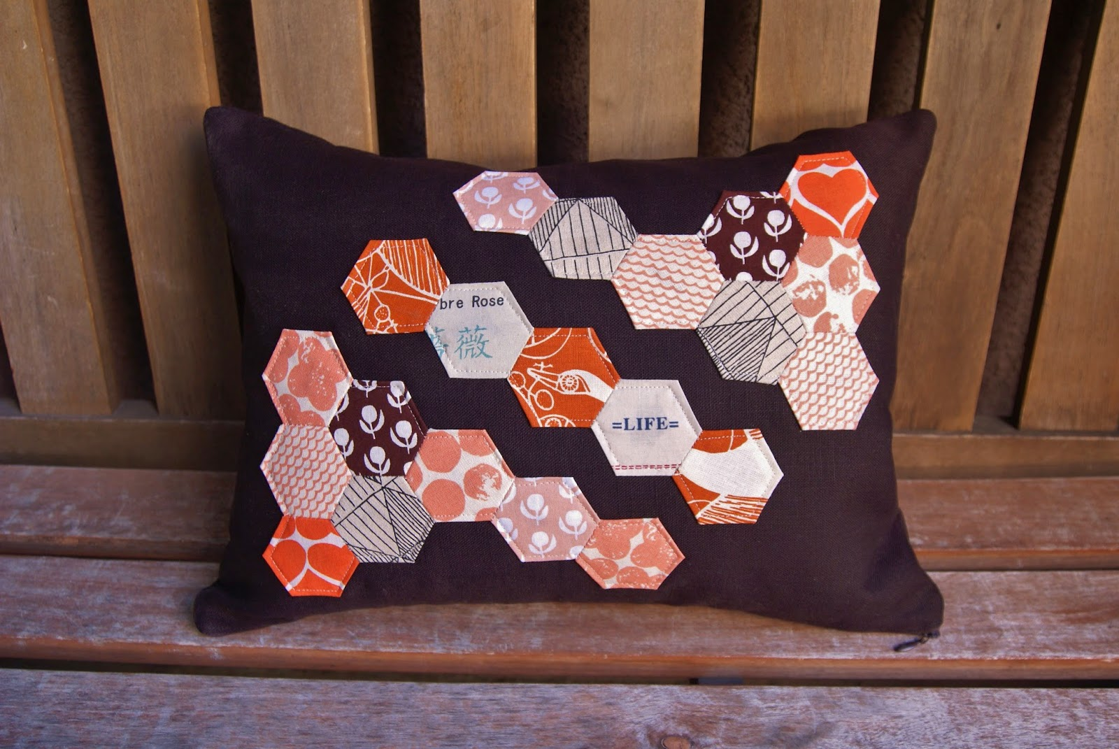 Umbrella Prints Trimmings Hexagon Pillow by Fabric Mutt