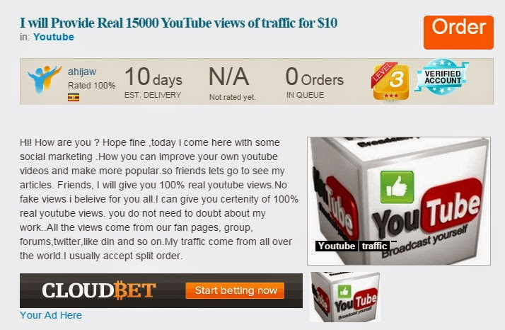 Advertisment for 15,000 You Tube views - $10