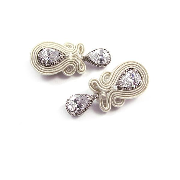 Delikatne kolczyki ślubne sutasz z kryształami Novia Blanca