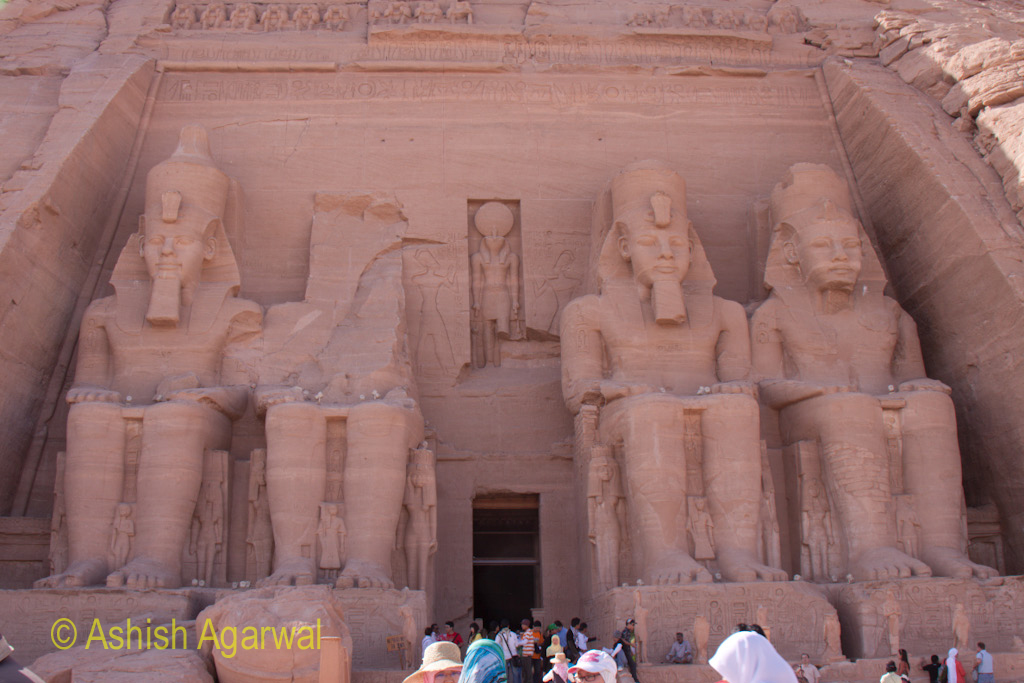View of the entrance to the Abu Simbel temple and the 4 statues in front