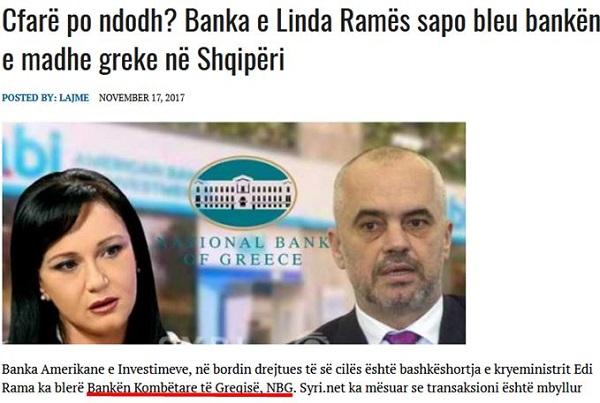 """Η τράπεζα της γυναίκας του Έντι Ράμα αγόρασε την """"ελληνική"""" Εθνική Τράπεζα στην Αλβανία"""
