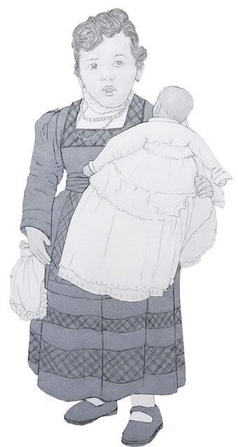 niña, madre, antigua, dibujo