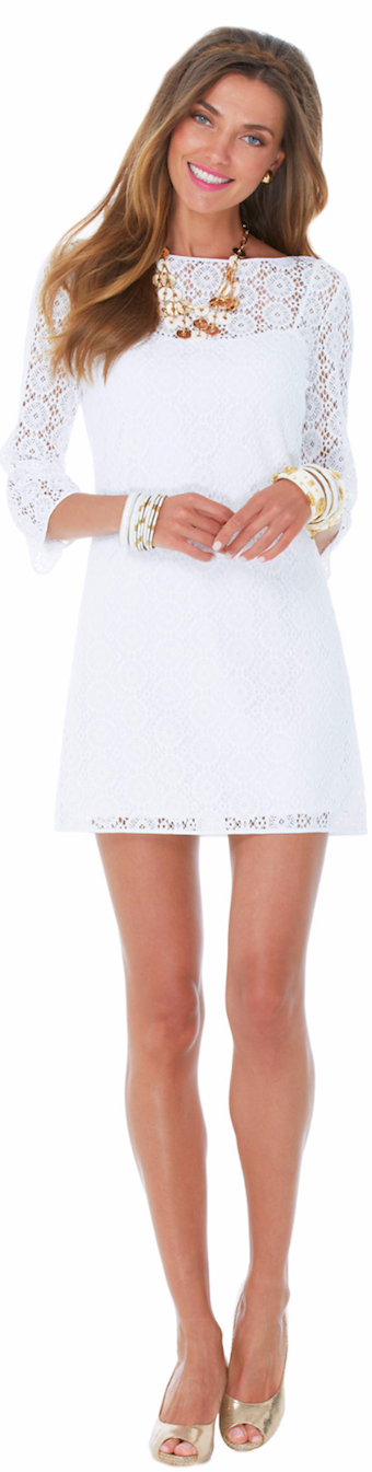 LILLY PULITZER TOPANGA LACE TUNIC DRESS RESORT WHITE