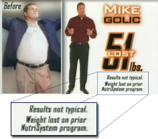 nutrisystem ad with results not typical disclaimer