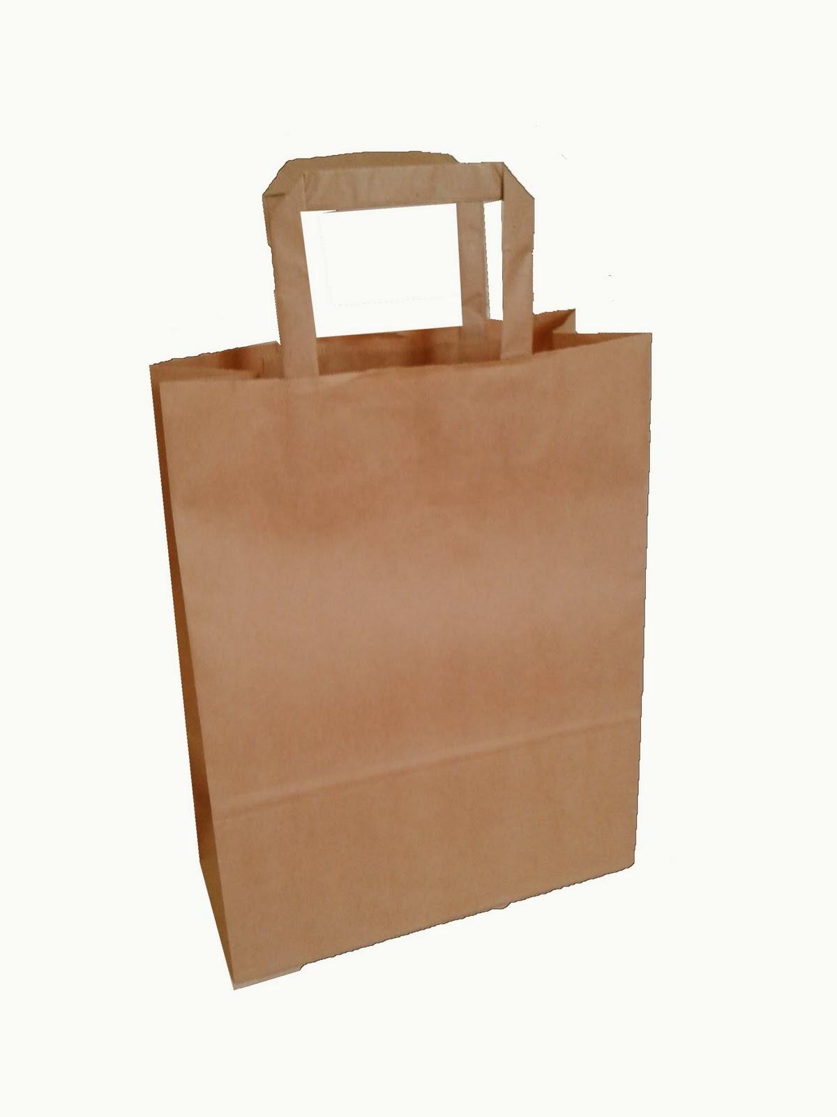 PAPER BAG WITH HANDLE MINI BROWN WHITE PLAIN MALAYSIA