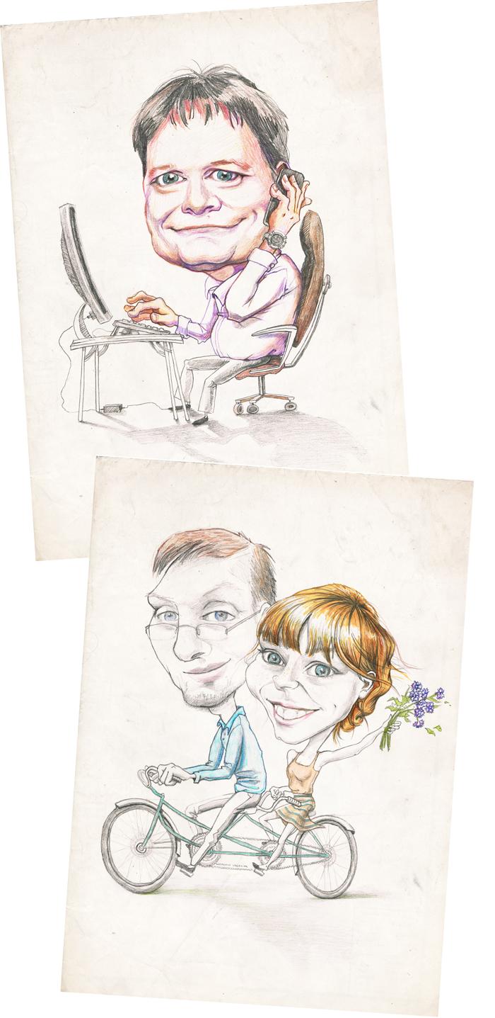 karykatury na zamówienie ilustracyjne komiksowe inne urbaniak lovely caricatures in crayons illustrate