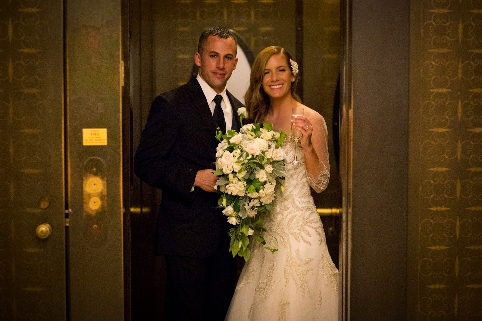 les fleurs : boston public library wedding : cascade bouquet : white anemone