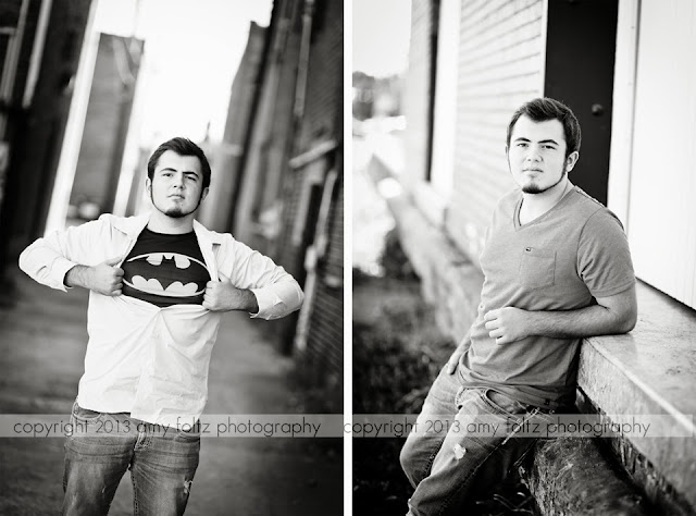 black and white photos of senior boy in alley - Terre Haute photographer