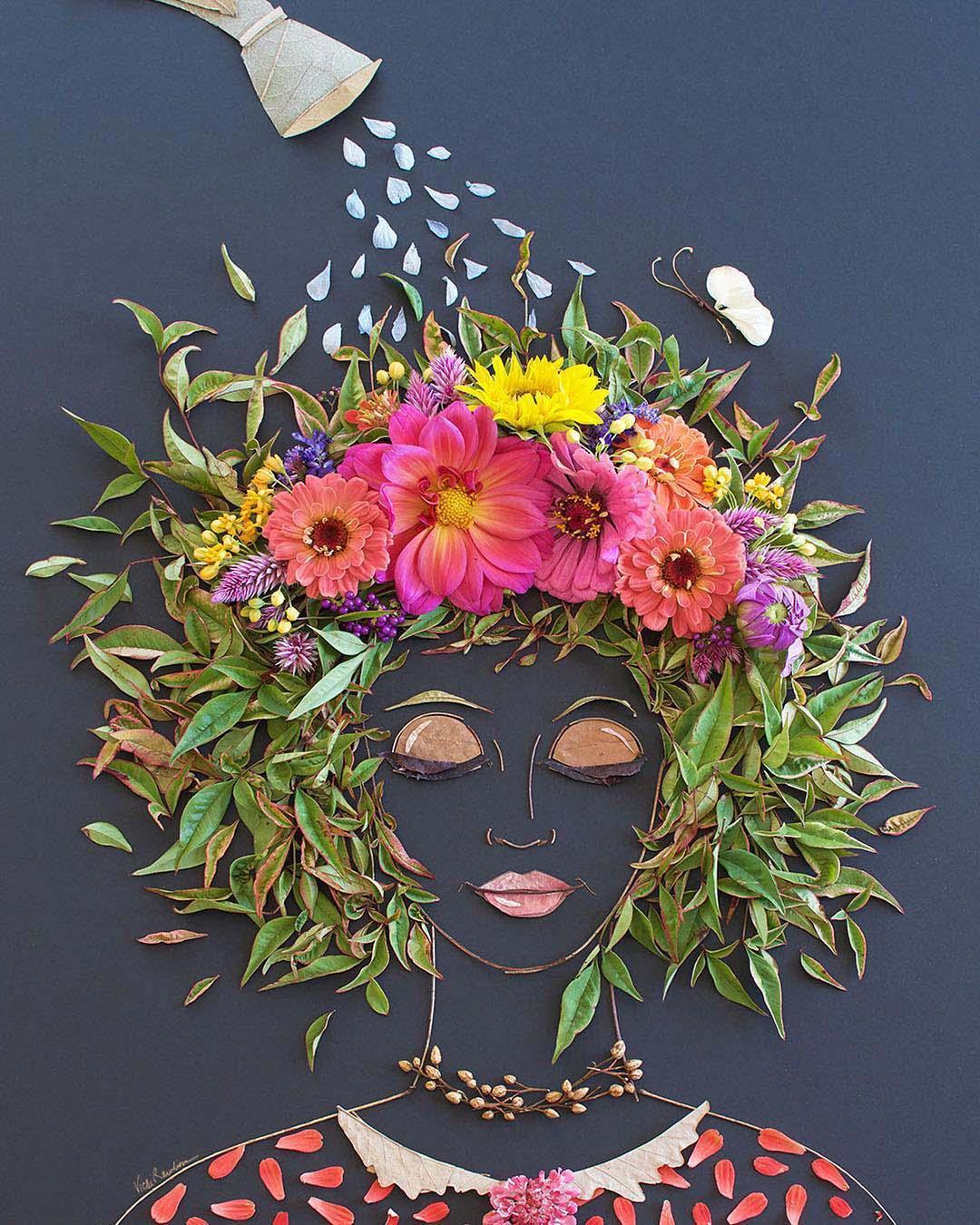 Фото брюнеток с цветами сбоку