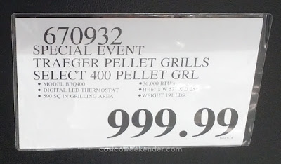 Deal for the Traeger Select Elite Pellet BBQ Grill (model BBQ400.04) at Costco