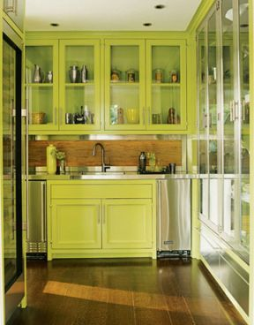 in below pictures that each green kitchen cabinets design has its own