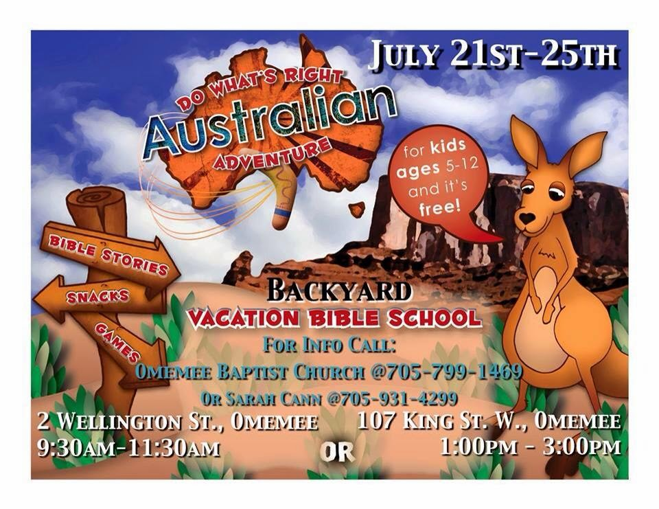 July 21st-25th Omemee Baptist Church hosts two Free day camps featuring an Australian theme.