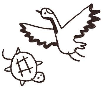 鶴と亀のイラスト(年賀状) 線画