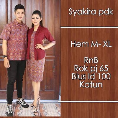 Baju Sarimbit Batik Pasangan Syakira Merah
