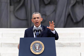 President Obama delivering his speech at 50th anniversary of the march on Washington