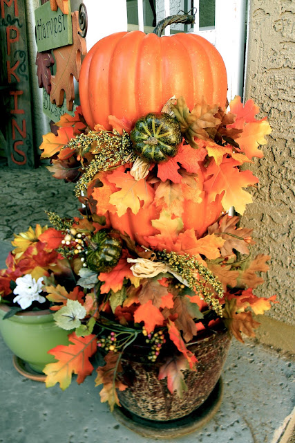 dollar store thrifty pumpkin and leaves topiary