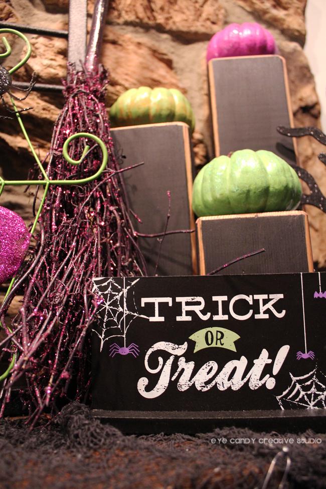 trick or treat sing, witch's broom, green pumpkins, halloween mantel