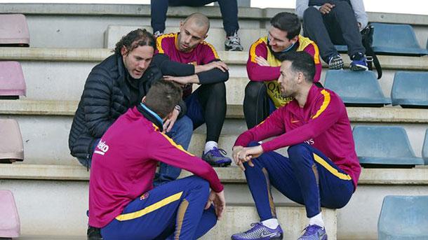 Gabi Milito se pasó por el entrenamiento del Barça este viernes