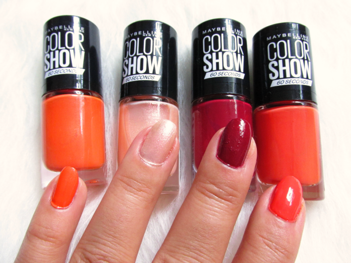 Swatches: Maybelline Sweet & Spicy - 432 Tangerine Tango, 436 Crushed Cayenne, 431 Vanilla Venom, 434 Hot Pepper