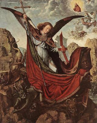 El Arcangel con estandarte y escudo pisando demonios y Dios y angeles en le cielo