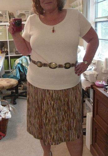 The skirt started life two+ years ago as this Walmart dress. I shrank